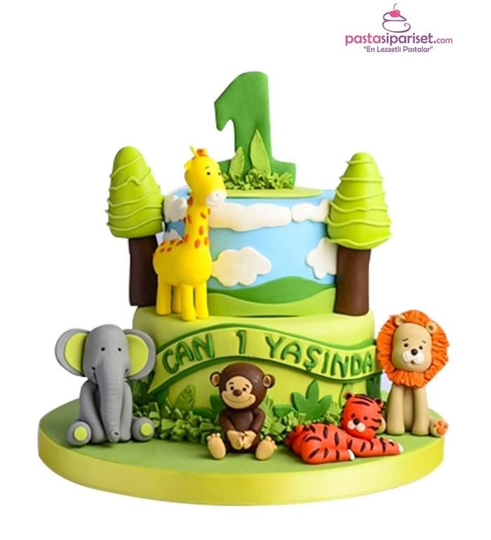sevimli hayvanlar doğum günü pastası